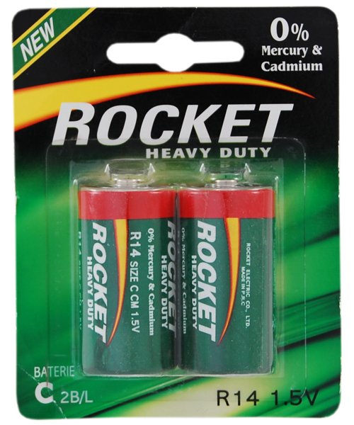 Baterie R14 HEAVY DUTY blister 2 sztuki ROCKET